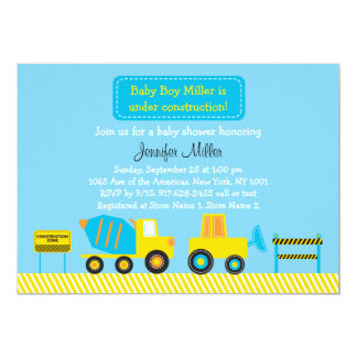 Colorful Construction Truck Birthday Invitations