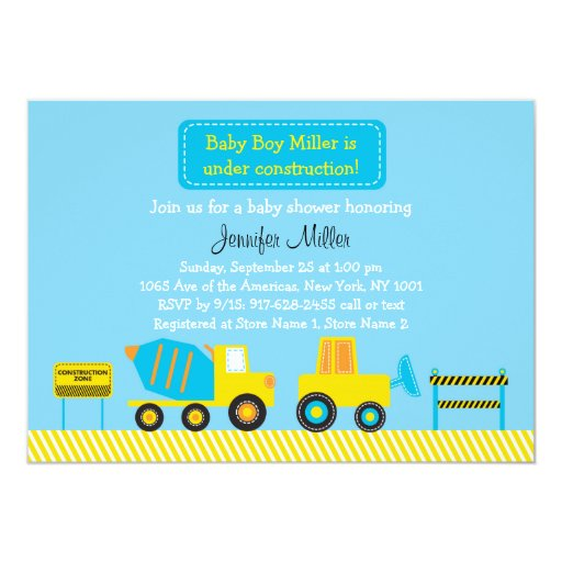 Colorful Construction Truck Birthday Invitations