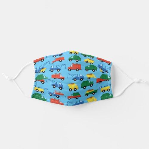 Colorful Construction Trucks Boys Kids Cloth Face Mask