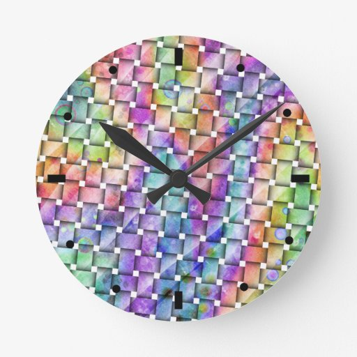 Colorful, Contemporary BRIGHT WEAVE WALL CLOCK