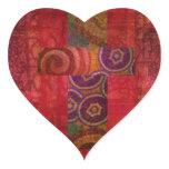 Colorful Contemporary Christian Mosaic Cross Art Heart Sticker