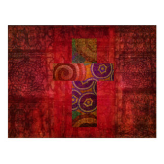Colorful Contemporary Christian Mosaic Cross Art Postcard