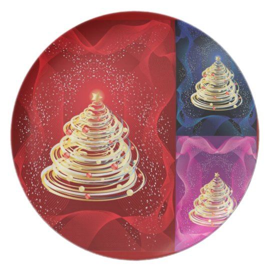 colorful contemporary  Christmas tree plate