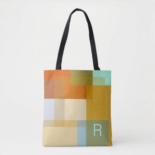 Colorful Contemporary Geometric Color Blocks Tote Bag