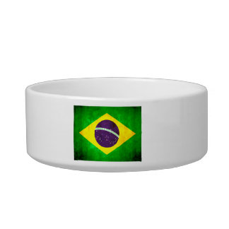 Colorful Contrast Brazilian Flag Cat Water Bowl