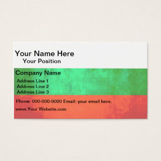 Colorful Contrast Bulgarian Flag Business Card