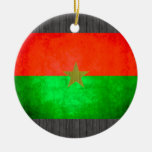 Colorful Contrast Burkinabe Flag Christmas Ornaments