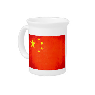 Colorful Contrast Chinese Flag Drink Pitcher