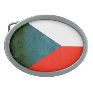 Colorful Contrast Czech Flag Oval Belt Buckles