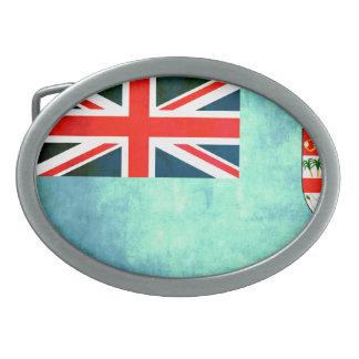 Colorful Contrast Fijian Flag Belt Buckle