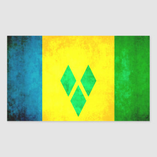 Colorful Contrast GrenadianFlag Rectangular Sticker