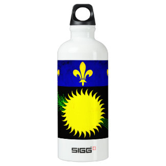 Colorful Contrast Guadeloupean Flag Aluminum Water Bottle