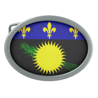 Colorful Contrast Guadeloupean Flag Oval Belt Buckle