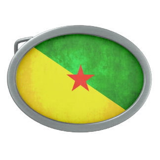 Colorful Contrast Guianese Flag Oval Belt Buckles