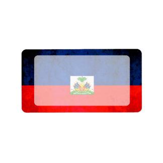 Colorful Contrast Haitian Flag Label