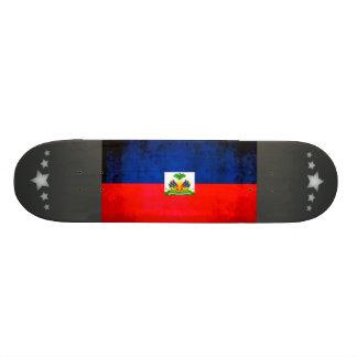 Colorful Contrast Haitian Flag Skateboard Deck