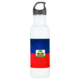 Colorful Contrast Haitian Flag Water Bottle