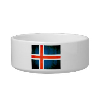 Colorful Contrast Icelander Flag Cat Water Bowls