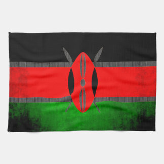 Colorful Contrast Kenyan Flag Hand Towel