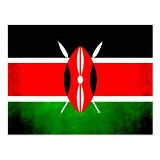 Colorful Contrast Kenyan Flag Postcard