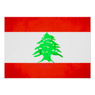 Colorful Contrast Lebanese Flag Poster
