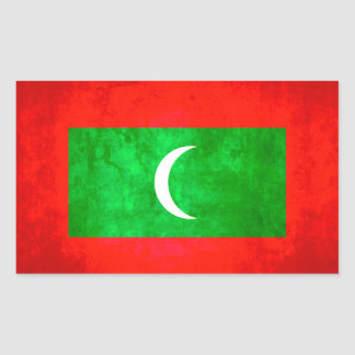 Colorful Contrast Maldivan Flag Rectangular Sticker