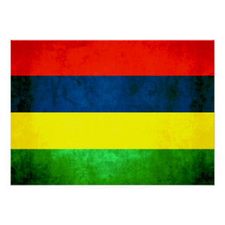 Colorful Contrast Mauritian Flag Poster