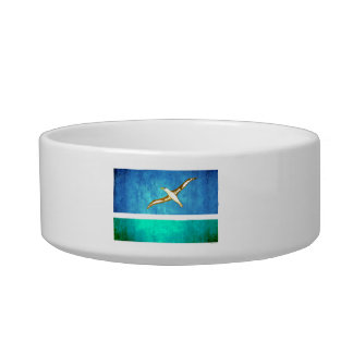 Colorful Contrast Midwayer Flag Cat Food Bowl