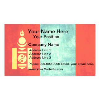 Colorful Contrast Mongolian Flag Double-Sided Standard Business Cards (Pack Of 100)