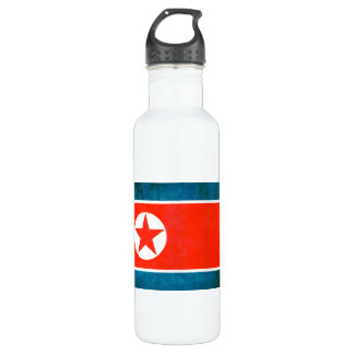 Colorful Contrast North Korean Flag Water Bottle