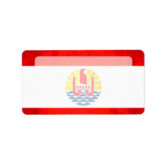 Colorful Contrast Polynesian Flag Label