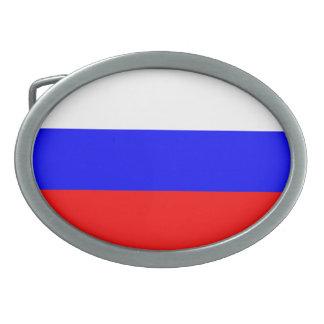Colorful Contrast RussianFlag Belt Buckle