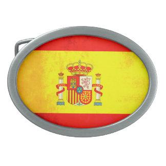 Colorful Contrast SpanishFlag Oval Belt Buckle