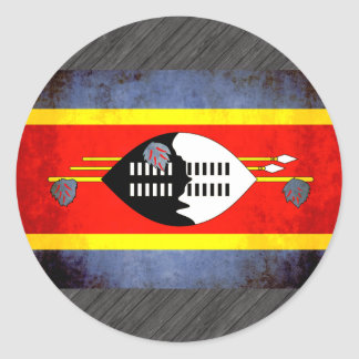 Colorful Contrast SwaziFlag Classic Round Sticker