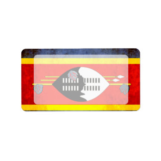 Colorful Contrast SwaziFlag Label