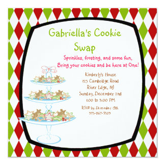 Colorful Cookie Tray Holiday Cookie Swap Invites
