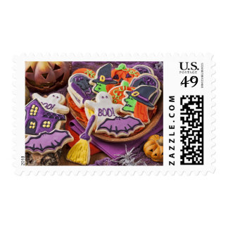Colorful Cookies For Halloween Party Stamp