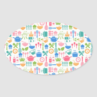 Colorful Cooking Utensils Oval Sticker