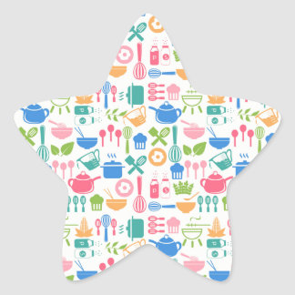 Colorful Cooking Utensils Star Sticker