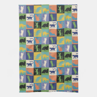Colorful Cool Cat Silhouettes in Quilt Squares Towel