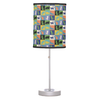 Colorful Cool Cats in Quilt Squares Desk Lamp