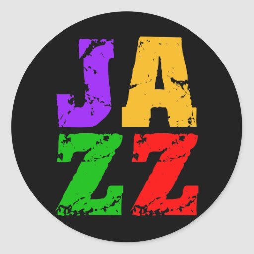 Colorful cool jazz classic round sticker