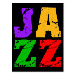 Colorful cool jazz postcards