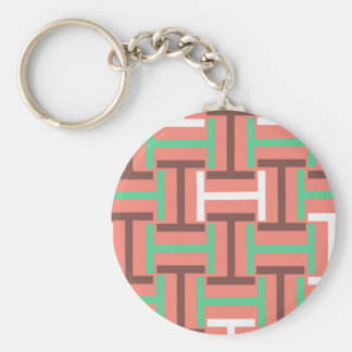 Colorful Coral Mix T Weave Basic Round Button Keychain