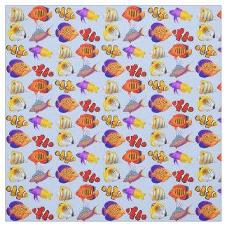 Colorful Coral Reef Aquarium Fish Fabric