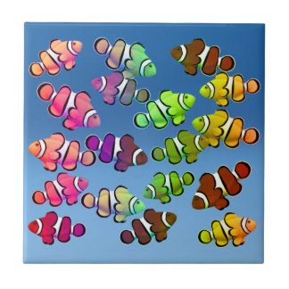 Colorful Coral Reef Clownfish Tile