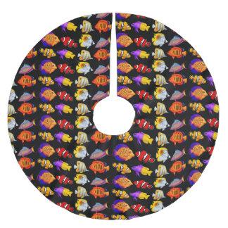 Colorful Coral Reef Fish Christmas Tree Skirt