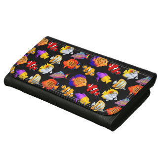Colorful Coral Reef Fish Leather Wallet