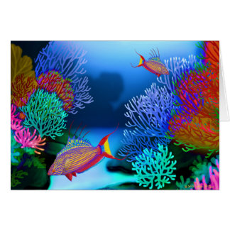 Colorful Coral Reef Flasher Wrasse Fish Card
