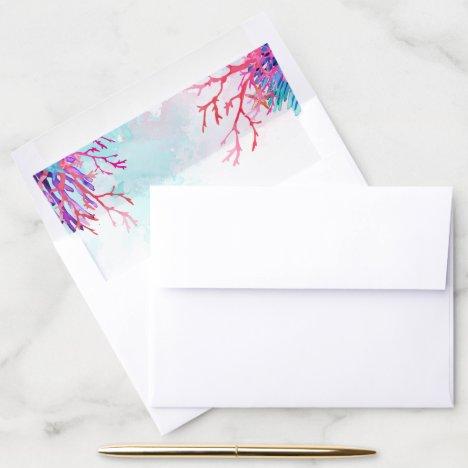 Colorful Coral Reef Wedding Envelope Liner